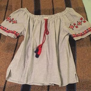 LOFT Embroidered Blouse with Tassels